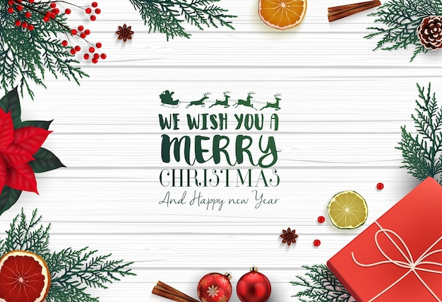 Merry christmas background with christmas decoration element