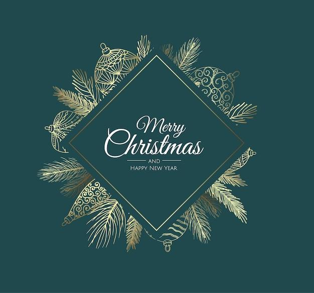 クリスマスの要素を持つメリークリスマスの背景。ベクトルイラスト。