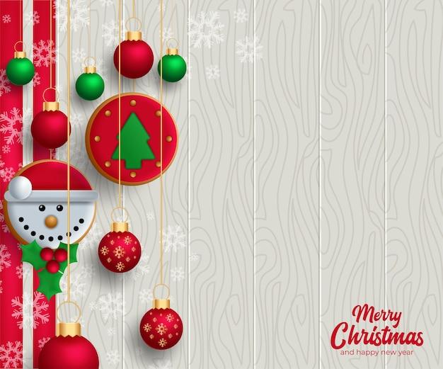 クリスマスの要素を持つメリークリスマスの背景。