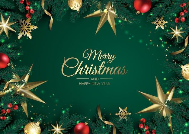 크리스마스 요소와 메리 크리스마스 배경입니다.