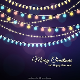 Merry christmas background with colorful bulbs