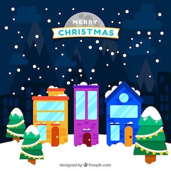 Merry christmas background with colorful houses in flat design