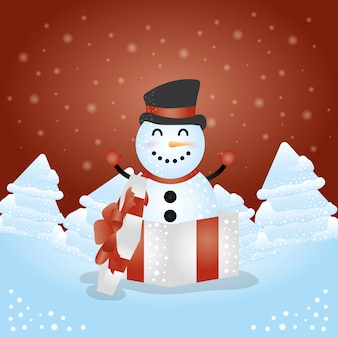 Merry christmas background with cute snowman character