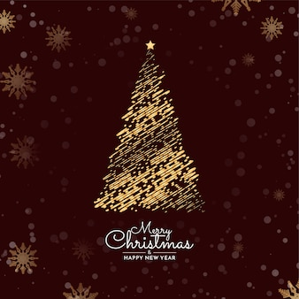 Merry christmas background with decorative tree design