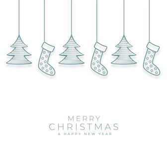 装飾的なクリスマスの要素とメリークリスマスの背景