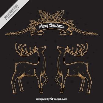 鹿と花の要素を持つメリークリスマスの背景 無料ベクター
