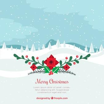 イースターの花とメリークリスマスの背景