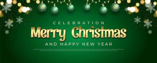С рождеством христовым фон с редактируемым текстом, золотым и рождественским элементом украшения