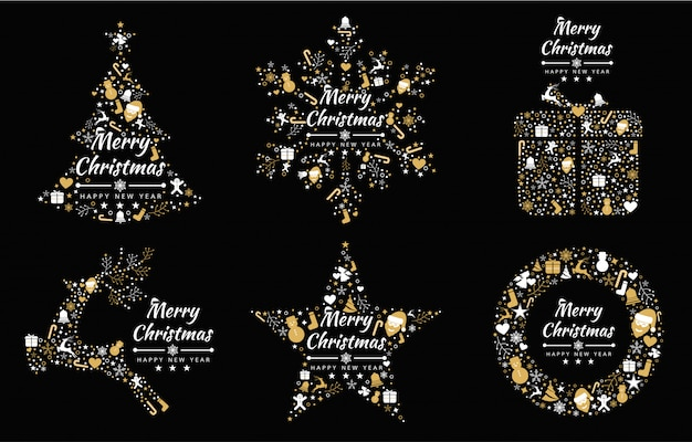 Merry christmas background with element collection