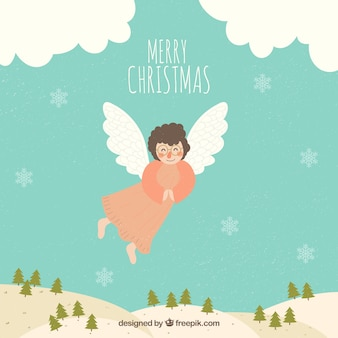 Merry christmas background with a flying angel