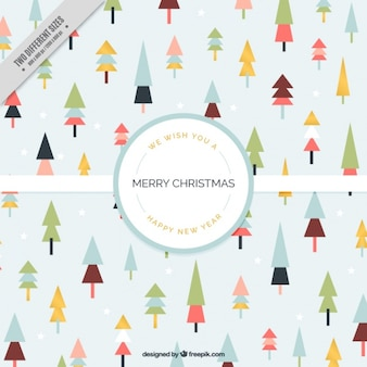 Merry christmas background with geometric trees