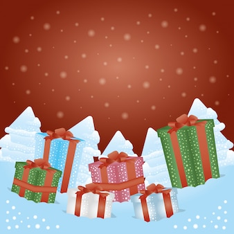 Merry christmas background with gift boxes presents
