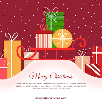 Merry christmas background with gift boxes