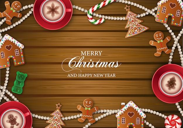 ジンジャーブレッドクッキーとメリークリスマスの背景