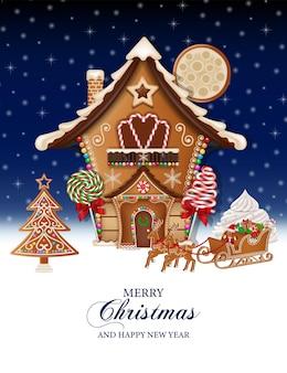진저 브레드 하우스와 썰매가 있는 메리 크리스마스 배경