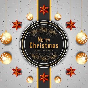 С рождеством христовым фон со светящимися точками или золотыми звездами и вектором пузырей