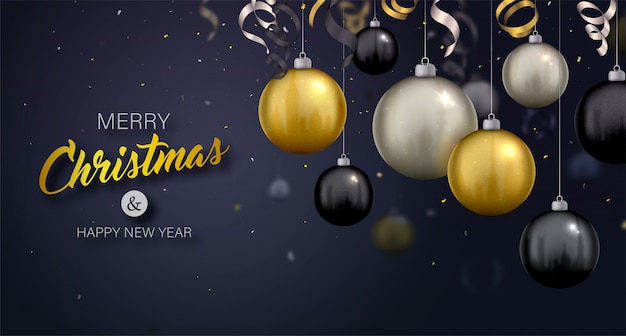 Merry christmas background with gold, black and silver hanging baubles and serpentine