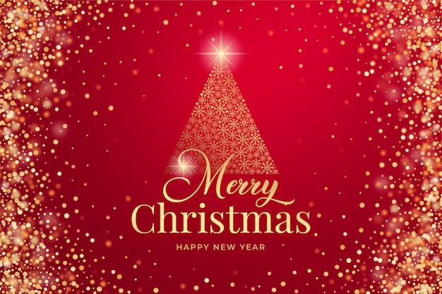 Merry christmas background with gold glitter and sparkles