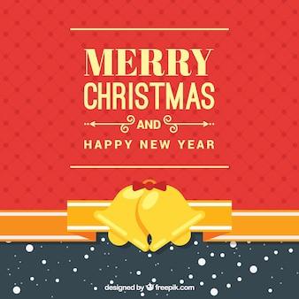 Счастливого рождества фон с золотой звенящие колокольчики