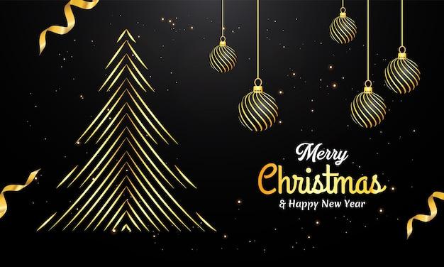 Счастливого рождества фон с золотыми элементами
