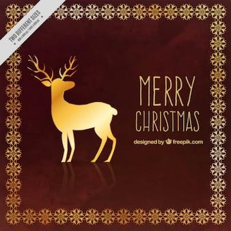 Merry christmas background with golden reindeer
