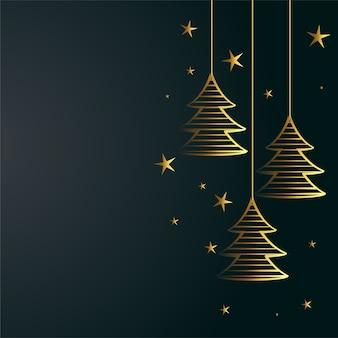 황금 나무와 별 장식 메리 크리스마스 배경