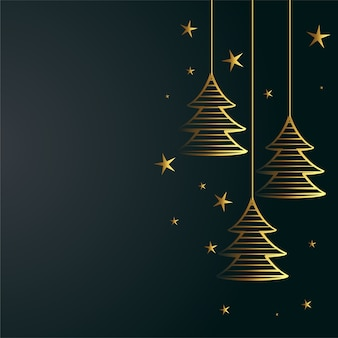 Merry christmas background with golden tree and stars decoration
