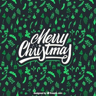 녹색 요소와 메리 크리스마스 배경