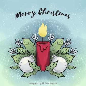 Merry christmas background with a hand drawn decorated candle