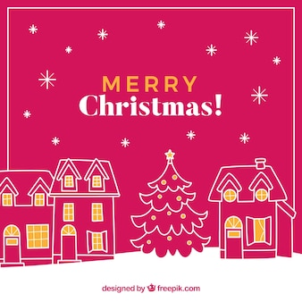 Merry christmas background with hand drawn houses