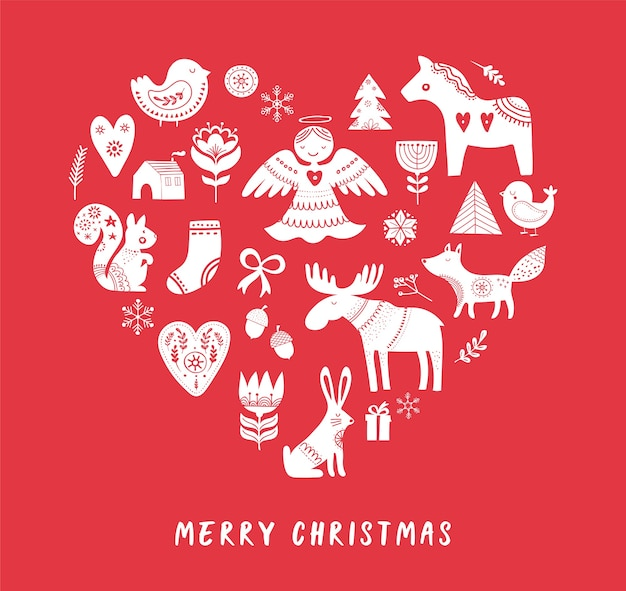 Merry christmas background with hand drawn scandinavian, nordic style illustrations