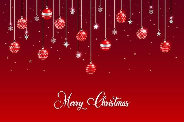 С рождеством христовым фон с подвесными шарами