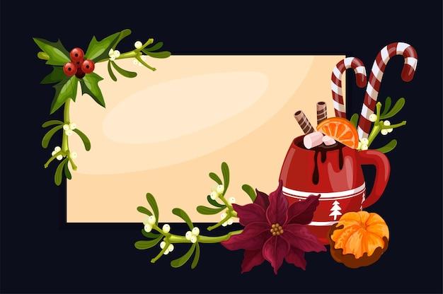 뜨거운 chocolade와 함께 메리 크리스마스 배경