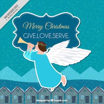 Merry christmas background with houses and angel