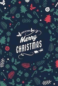 레터링 디자인 메리 크리스마스 배경입니다. 크리스마스 요소와 인사말 카드