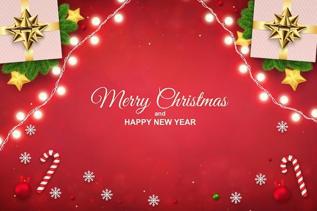 明るい花輪ギフトボックスキャンディケインと雪片とメリークリスマスの背景水平新年あけましておめでとうございますポスターバナーまたはグリーティングカード