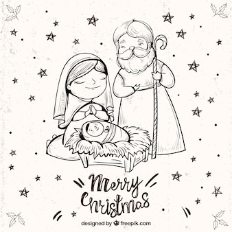 Merry christmas background with nativity scene sketch