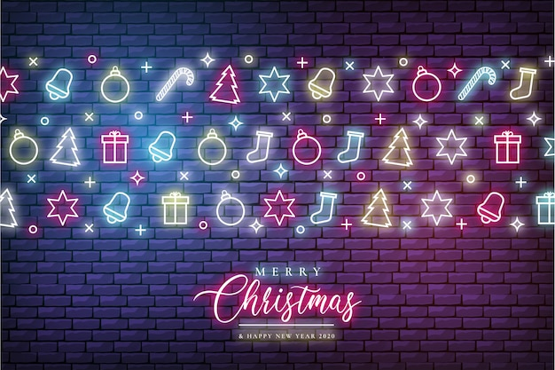 Merry christmas background with neon lights