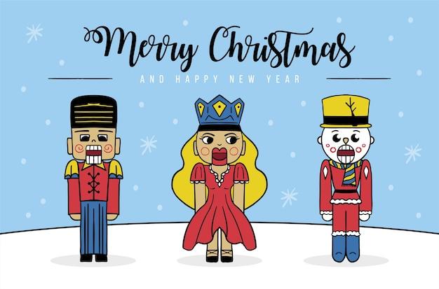 くるみ割り人形セットと雪片とメリークリスマスの背景