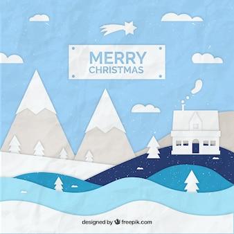 종이 풍경과 메리 크리스마스 배경