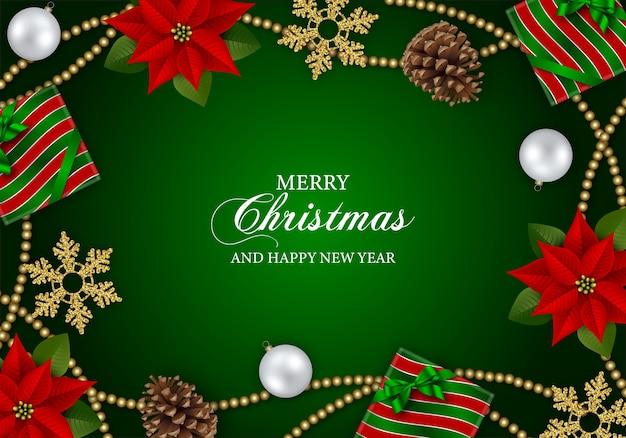 Веселый рождественский фон с цветами пуансеттии, сосновыми шишками и рождественскими украшениями
