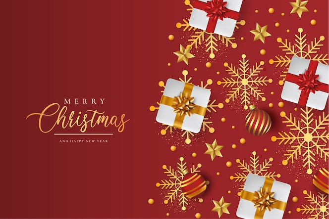 Merry christmas background with realistic christmas pattern
