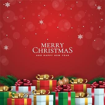 リアルな装飾品やプレゼントとメリークリスマスの背景