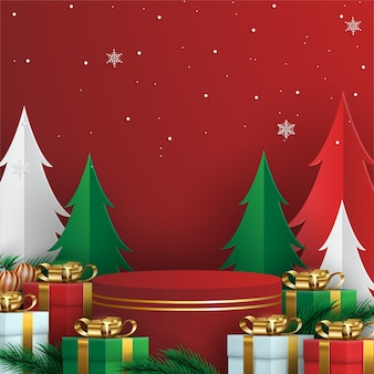 Merry christmas background with realistic ornaments and presents
