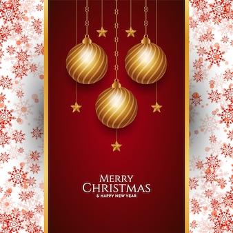 赤い雪片のデザインとメリークリスマスの背景