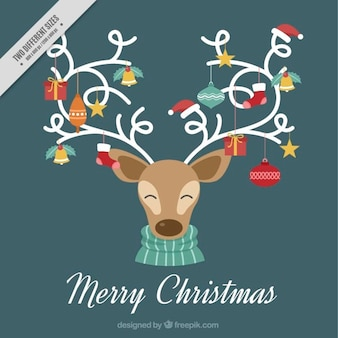 Priorità bassa di buon natale con le renne e ornamenti di natale