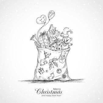 贈り物でいっぱいの袋とメリークリスマスの背景