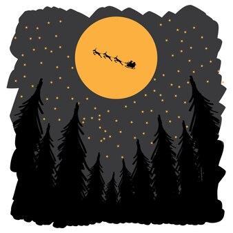 Веселый новогодний фон с санта-клаусом и оленями, летящими в небе