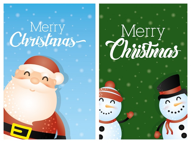 Merry christmas background with santa claus and snowmen