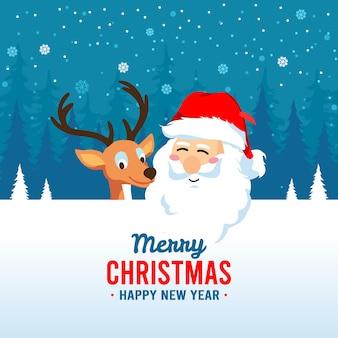 サンタクロースとメリークリスマスの背景